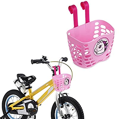 Mini-Factory Kid's Bike Basket, Cute Cartoon Pattern Bicycle Handlebar Basket for Girl Pink