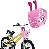 Mini-Factory Kid's Bike Basket, Cute Cartoon Pattern Bicycle Handlebar Basket for Girl Pink