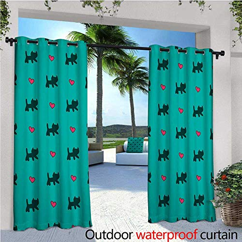 cobeDecor Teal Patio Curtains Cute Kittens Pink Hearts Lovely Animal Design with Valentines Inspirations Outdoor Curtain for Patio,Outdoor Patio Curtains W108 x L96 Teal Pink Dark Blue