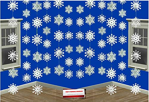 (12 Pack) Snowflake White Christmas Winter Wonderland Hanging Foil String Party Birthday Decorations Plus Party Planning Checklist]()