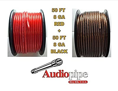 8 Gauge 50' BLACK and 50' RED Car Audio Power Ground Wire Cable 100' ft Total
