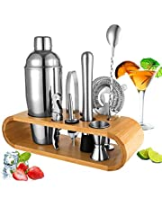 BRITOR Cocktail Shaker Set Bartender Kit,10-Piece Cocktail Kit Bar Tool Set with Bamboo Stand - Stainless Steel Cocktail Set Bartender Set with Recipe Book