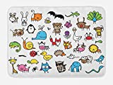 Ambesonne Doodle Bath Mat, Collection of Cartoon Style Animals Drawn in Child Friendly Manner Cute Adorable Fun, Plush Bathroom Decor Mat with Non Slip Backing, 29.5 W X 17.5 W Inches, Multicolor
