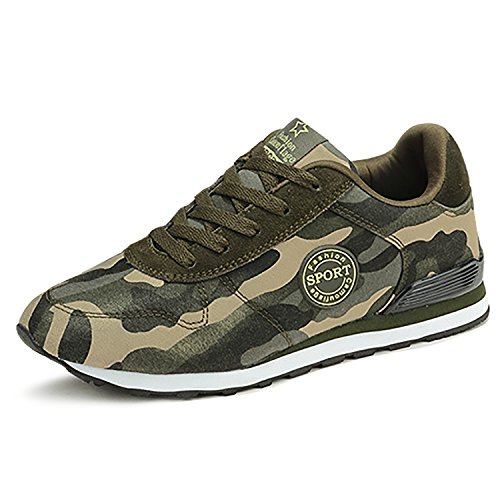 Odema Womens Camouflage High Heel Sneakers Army Green Height Increase Shoes
