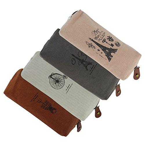 4 Pen Pack (EzSos Canvas Pencil Case, Retro Stationery Zipper Bag,Cosmetic Makeup Purse, Coin Pouch, Student Pen Pencil Holder, 4 Pcs/Pack)