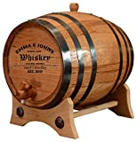 5 liter wine barrel - Personalized - Customized American White Oak Aging Barrel - Barrel Aged (5 Liters, Black Hoops)