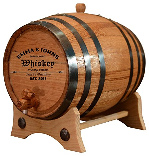 Personalized - Customized American White Oak Aging Barrel - Barrel Aged (2 Liters, Black Hoops) by Sofia's Findings