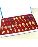 Fairy Tail Cosplay 21pcs of Keys Lucy Heart Keychain Necklace Pendant+gifts