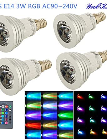 HJLHYL MNDFocos Control Remoto / Decorativa YouOKLight G50 E14 3 W 1 LED de Alta Potencia 260 LM RGB AC 100-240 V 4 piezas, rgb - - Amazon.com