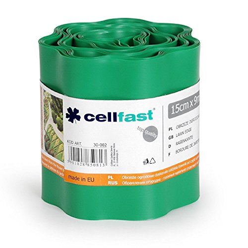 Flexible Garden Lawn Grass Edge 9m x 150mm Green Edger Edging Border Wall by Cellfast (Image #1)