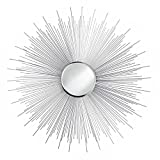 Accent Plus Mirror Decor, Rustic Round Silver Rays Iron Frame Decorative Mirrors For Wall
