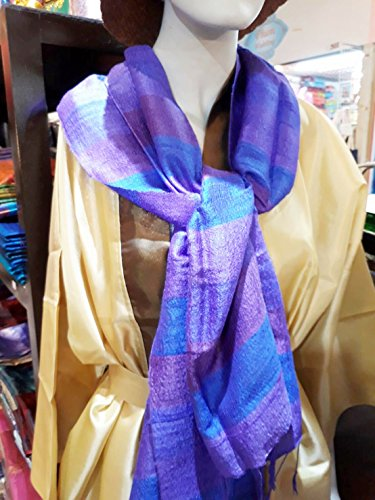 Tan Mist Towel (Pure Thai Silk 100 % Women Scarf Shawl Wral Pashmina luxurious Purple Gold silver with gift bag)