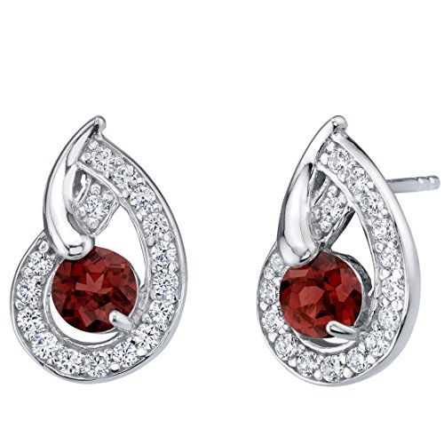 Garnet Sterling Silver Nautilus Stud Earrings 1.25 Carats Total (Raspberry Garnet Ring)