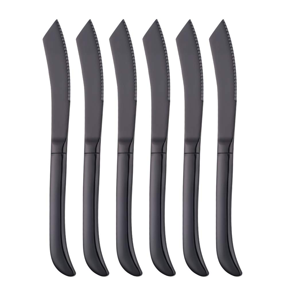 Bisda Steak Knife Set, Premium Serrated Stainless Steel Kitchen Steak Knives, Set of 6, Dishwasher Safe (Black)