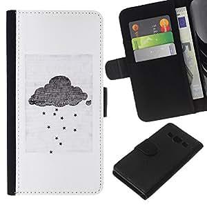 Stuss Case / Funda Carcasa PU de Cuero - Nube Gris Blanco Peque?o Emo Sad - Samsung Galaxy A3