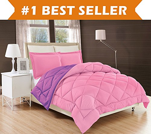Elegant Comfort All Season Comforter and Year Round Medium Weight Super Soft Down Alternative Reversible 2-Piece Comforter Set, Twin/Twin XL, Pink/Purple (Purple Twin Comforter Sets)