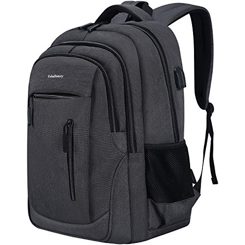 Travel Laptop Backpack, Veballensty 17.3 Inch Business Backpack with USB Chargering Headphone Port, Water Resistant…