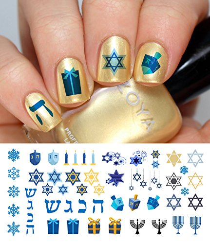 (Hanukkah Holiday Assortment Water Slide Nail Art Decals Set #1 - Salon Quality 5.5