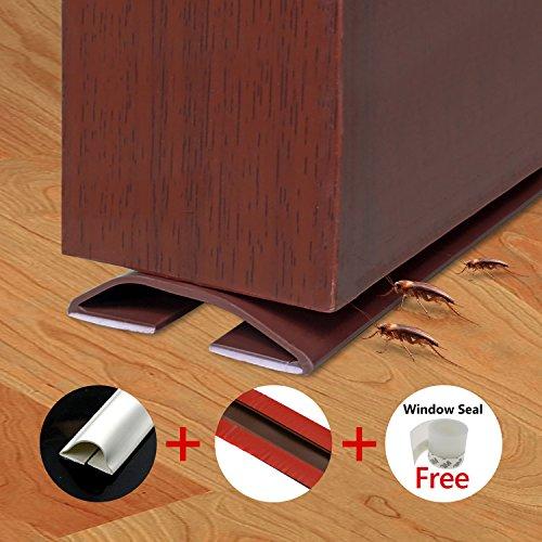Fixget Weather Stripping, Waterproof Under Door Sweep Self Adhesive Gap Sealer for Interior Door Silicone Rubber Door Bottom Seal Strip 39