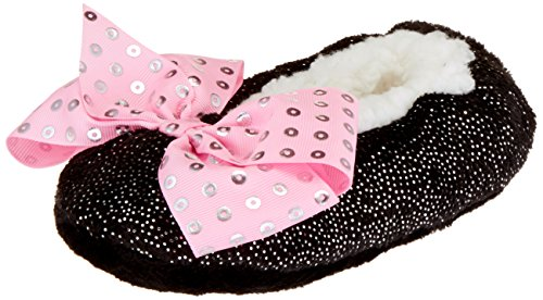 Jojo Siwa Girls' Big Slipper Socks, Black Pink Sequin Bow, S/M - Fits Shoe Size -