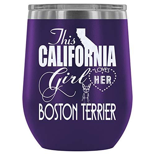 Christmas-Steel Stemless Wine Glass Tumbler, I Love My Boston Terrier Wine Tumbler, Boston Terrier Vacuum Insulated Wine Tumbler (Wine Tumbler 12Oz - Purple)