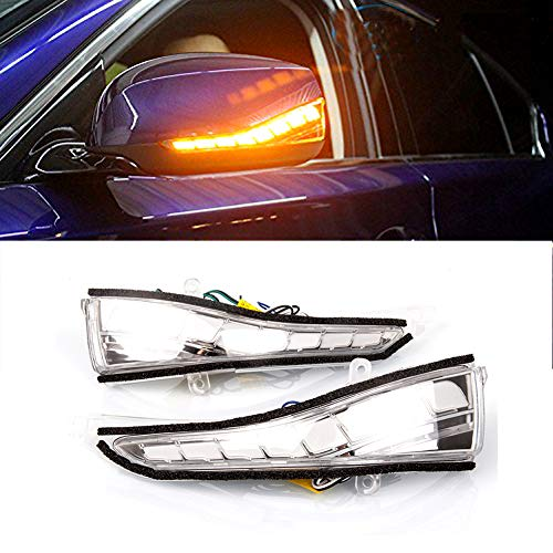 (PGONE LED Rear Amber Mirror Sequential Turn Signal DRL White Light Parking Puddle Light Lamp Kit For Infiniti Q50 Q60 Q70 QX30)