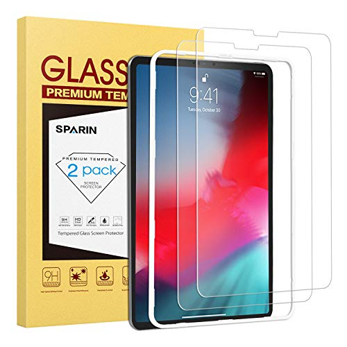 SPARIN Screen Protector for New iPad Pro 12.9 inch [2018 Release], [2 PACK] Apple Pencil Compatible Tempered Glass for iPad Pro 12.9 [ 3rd Generation ]