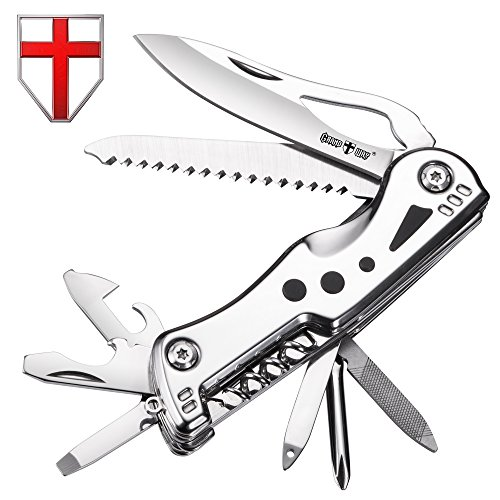 Swiss Army Knife Multi Function - Compact Stainless Steel Multi Purpose Folding Pocket Knife Mini Utility Tool - Style Knife Blade, Saw - Grand Way 104048