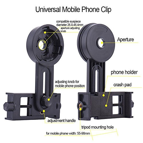 AYAMAYA Universal Smartphone Adapter Mount Telescope Connection Stand Holder Compatible with Binocular Monocular Spotting Scope Telescope and Microscope for Eyepiece Diameter 26mm to 46mm by AYAMAYA (Image #2)