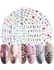68 Sheets Mixed Nail Stickers Water Transfer,Butterfly Floral Animal Black White Geometry Slider Manicure Nail Art Decoration 3D Design DIY Decals Tattoo Set for Women Kids Girls Toenails and Fingernails Decor