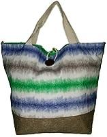 "XL Striped Canvas Beach Tote Bag with Button Closure- W22"" D9"" H17"""