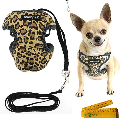 Wiz BBQT Canvas Mesh Leopard Print Dog Cat Pet Vest Harness and Matching Nylon Leash Set (Small) Leopard Print Dog Coat