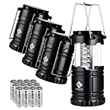 Etekcity 4 Pack Portable LED Camping Lantern Flashlight with 12 AA Batteries - Survival Kit for Emergency, Hurricane, Power Outage (Black, Collapsible) (CL10)