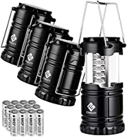 Etekcity 4 Pack Portable Led Camping Lanterns with Batteries