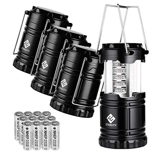 Etekcity 4 Pack Portable LED Camping Lantern with 12 AA Batteries - Survival Kit for Emergency, Hurricane, Power Outage (Black, Collapsible) (Camping Light)