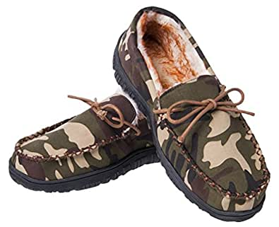 MIXIN Men's Moccasins Slippers Comfy Warm Soft Plush Lining Hard Rubber Sole Slip-on Memory Foam Casual House Indoor Outdoor Driving Shoes Camouflage Size Men US8/AU(UK) 7
