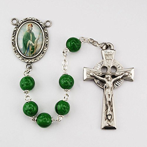 (St. Patrick 7mm Green Bead Pewter Rosary. Deluxe Gift Boxed)