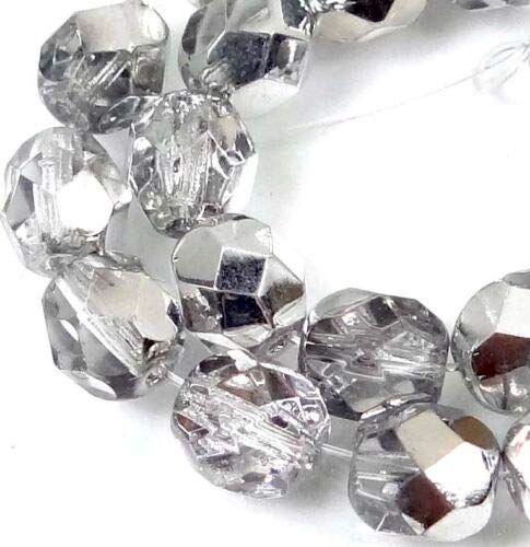 Firepolish Crystal Beads Round - 25 Firepolish Czech Glass Faceted Round Beads - Half Coat Silver Crystal 6mm