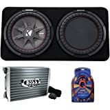 Kicker 43TCWRT122 1000W 12 2-Ohm Slim Shallow Subwoofer+Box+Amplifier+Amp Kit (Package)