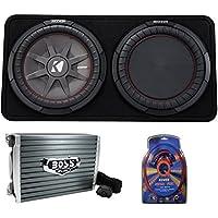 Kicker 43TCWRT122 1000W 12 2-Ohm Slim Shallow Subwoofer+Box+Amplifier+Amp Kit (Package)