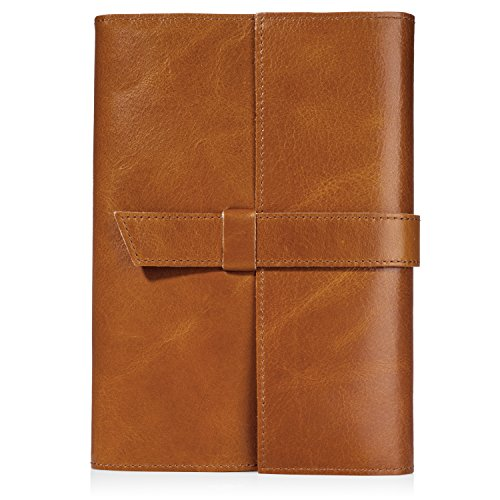 Genuine Leather Journal (Refillable) Handmade, Bound, Lay Flat Notebook | Personal Diary, Travel Organizer, Writing, Art Sketchbook | Lined, Unlined, Grid or Dot Grid Paper | Men, Women (Unlined)