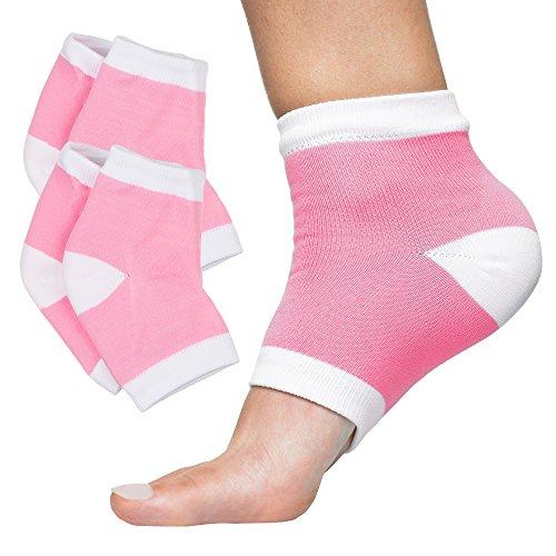 - ZenToes Moisturizing Heel Socks with Gel to Heal Dry Cracked Heels (Cotton, Pink)