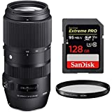 Sigma 100-400mm F5-6.3 DG OS HSM Contemporary Full Frame Telephoto Lens Canon (729-954) with Sandisk Extreme PRO SDXC 128GB UHS-1 Memory Card & Sigma 67mm Weather Resistant UV Filter