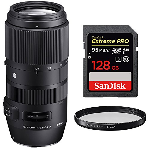 Sigma 100-400mm F5-6.3 DG OS HSM Contemporary Full Frame Telephoto Lens Nikon (729-955) with Sandisk Extreme PRO SDXC 128GB UHS-1 Memory Card & Sigma 67mm Weather Resistant UV Filter by Sigma