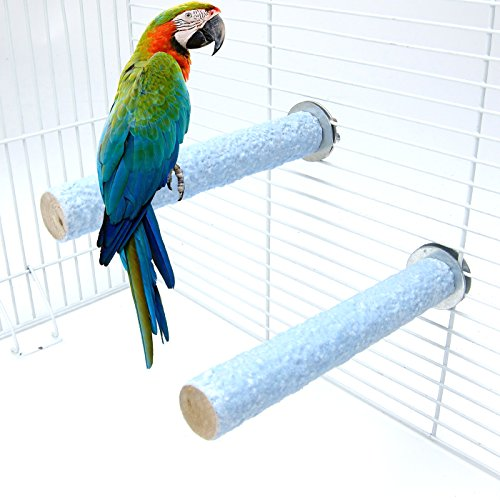 Alfie Pet by Petoga Couture - Eliot Sand Covered Perch 2-Piece Set for Birds - Color: Blue, Size: Medium