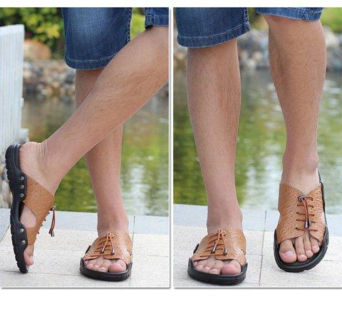 Odema Clearance Sandals Indoor Slippers Men Size4.5-6.5 Womens Size4.5-8.5 Summer Leather Sandals Open Toe Slip on Slippers Flip Flops Lightbrown n3Jzup0Pl