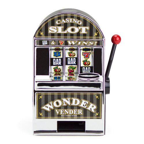 Bars and Sevens Slot Machine Bank with Spinning Reels