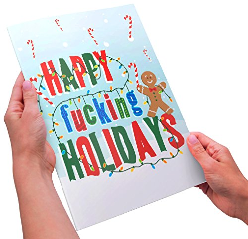 Funny Adult Holiday Card - XL Size - Happy Fucking Holidays - Hard Mailing Envelope Included Tasteless Christmas Jokes