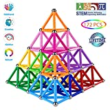 Veatree 172 Pieces Magnetic Building Sticks Blocks Toys, Magnet Educational Toys Magnetic Blocks Sticks Stacking Toys Set for Kids and Adult, Construction Toys 3D Puzzle with Storage Bag