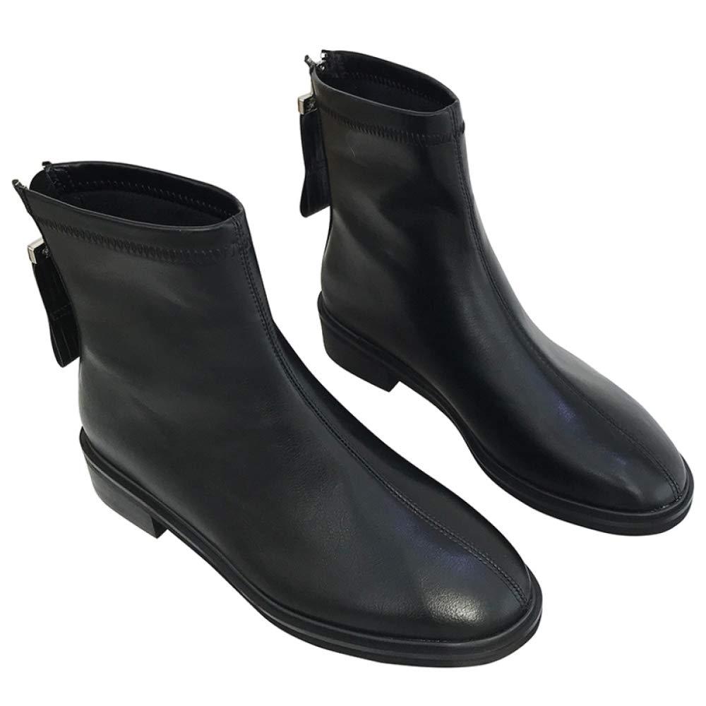 PLNXDM Chelsea-Stiefel Für Damen Leder Stiefeletten Reitstiefel Martin Stiefel Reißverschluss